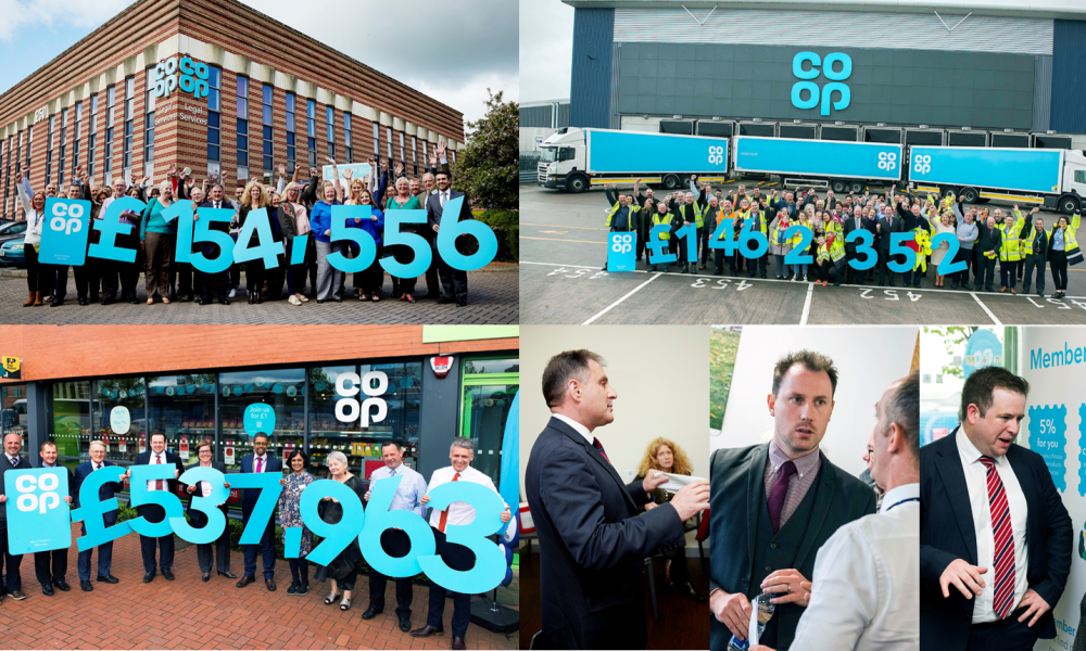 Montage of regional celebration day pics - showing amounts raised in the area