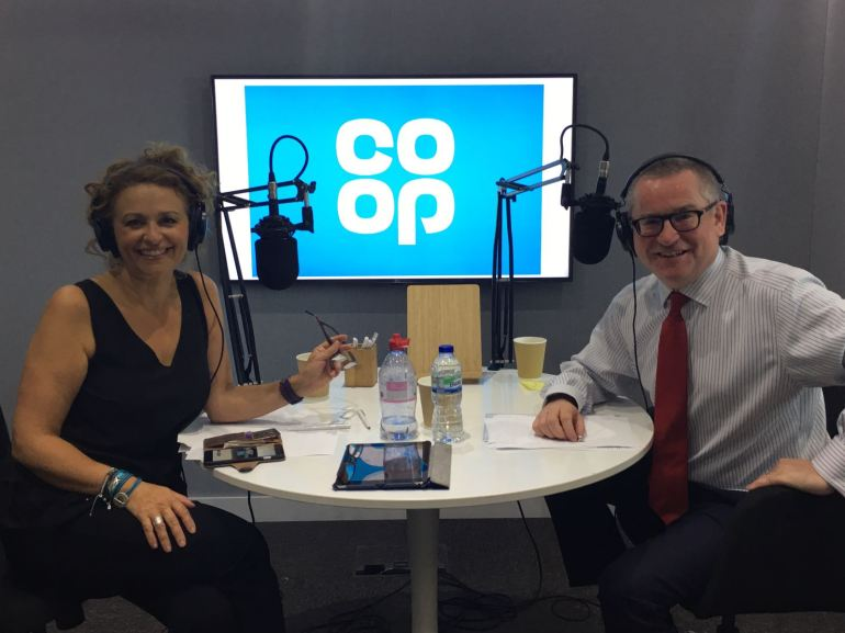 Presenter Nadia Sawalha with Funeralcare's David Collingwood