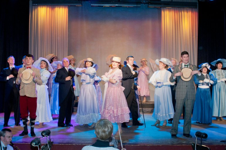 Performers on stage at Cupar Musical Society with their new lights