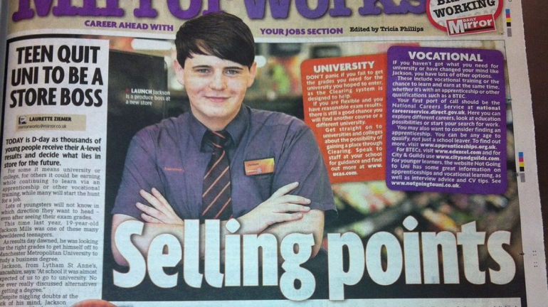 18 year old Jackson in the newspaper on Sainsbury's fast track management scheme