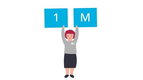 Illustration of a colleague holding up a 1 and a M