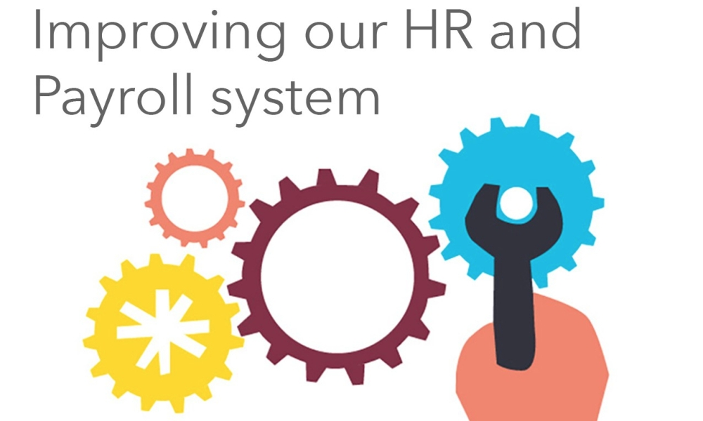 Illustration of cogs with the text: Improving our HR and Payroll system