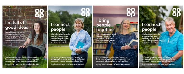 Different images of our current Member Pioneers featuring on posters for our recruitment campaign