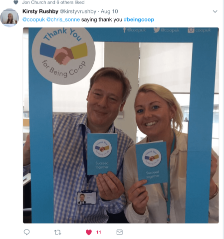 Tweet from Kirsty Rushby about #beingcoop