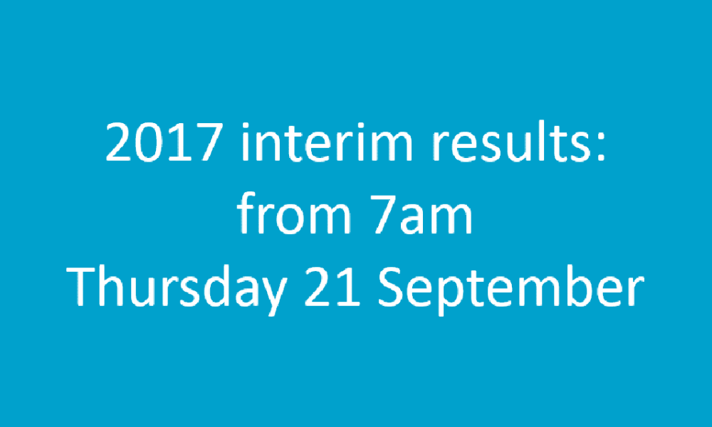 Graphic showing that our interim results are published from 7am on Thursday 21 September