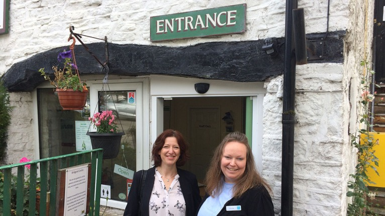 Tessa Wiley community lead and store manager Louise Biggin outside the Bridgend centre