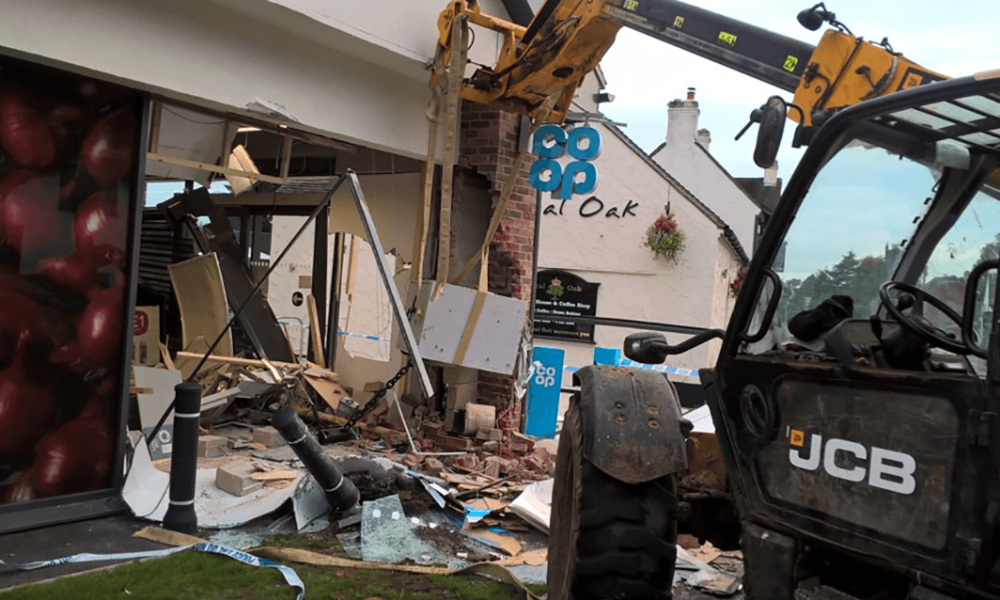 pic showing damage at one of our stores as its ATM is ripped out