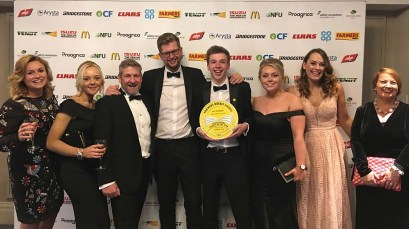 Josh Dowbiggin with his award alongside members of our Agri Team.