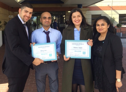Mark, Victoria and Falguni winning an award for helping the victims of Grenfell tower