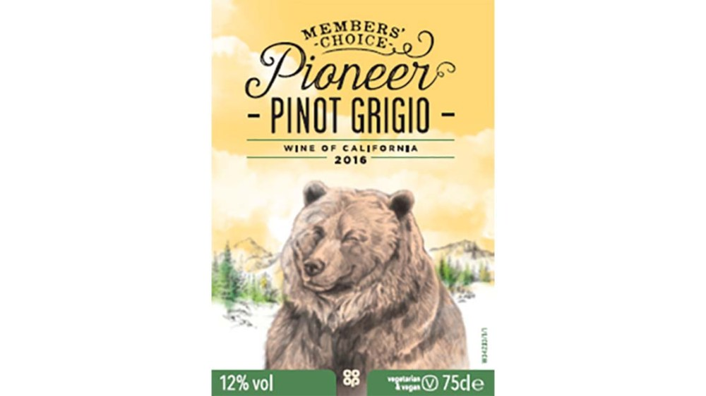 Label from our Pioneer Piont Grigio member designed wine
