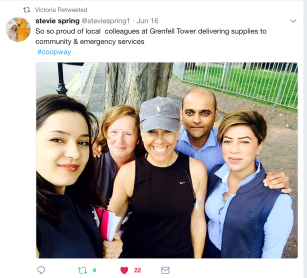 Stevie Spring with Notting Hill store team on Twitter