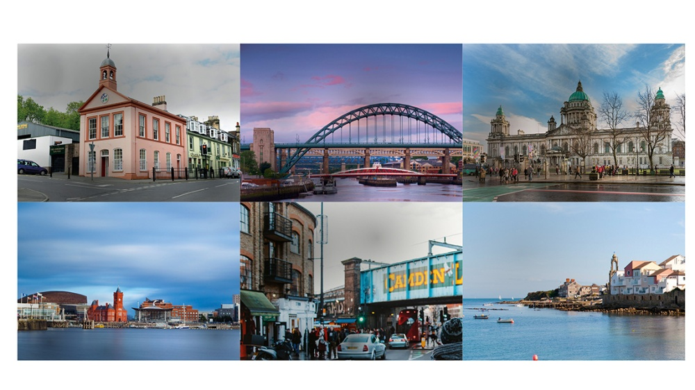 Montage of different city landscapes