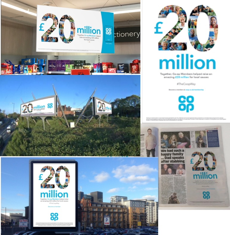 Images of £20m message on big screens, in newspapers etc