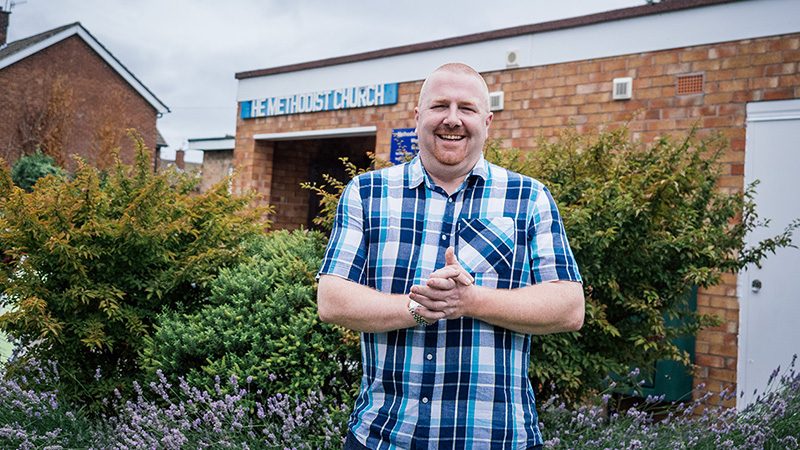Store manager Dave Palin outside Woodchurch Methodist Church