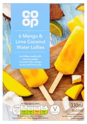 mango & lime coconut water lollies