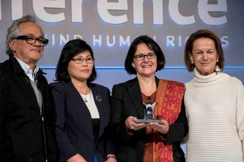 Our Deputy CEO Pippa Wicks (3rd from left) collecting our Stop Slavery award.