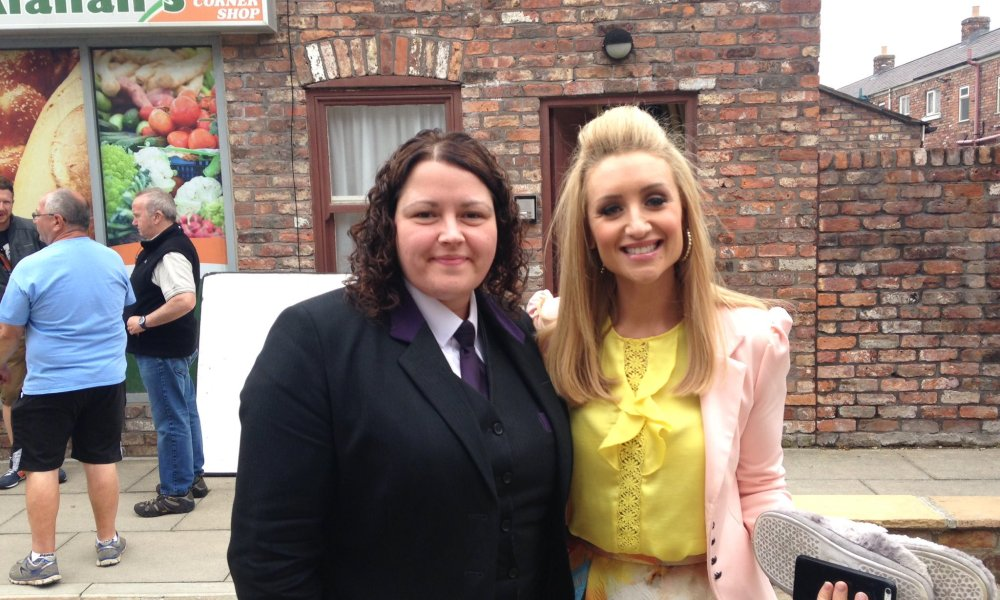 Estate Planning Manager Vanessa Caverley with actress Cath Tyldesley from Coronation Street