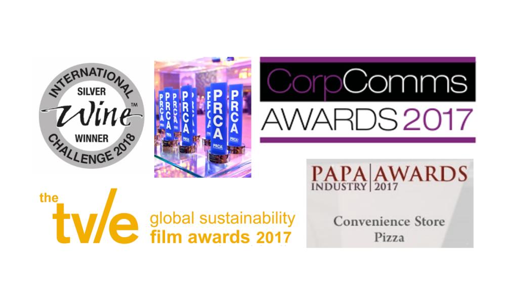 Graphic of recent award win logos