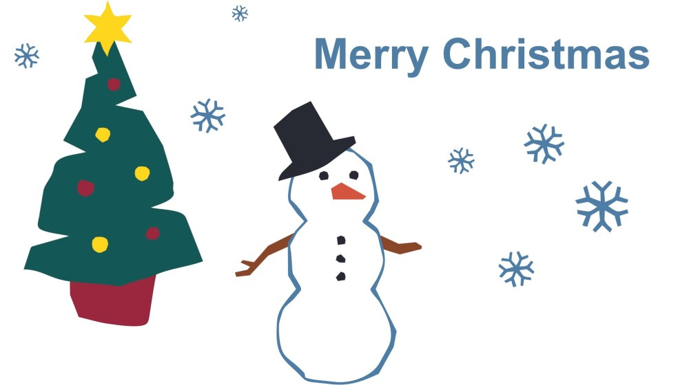 Merry Christmas graphic of a snowman and tree