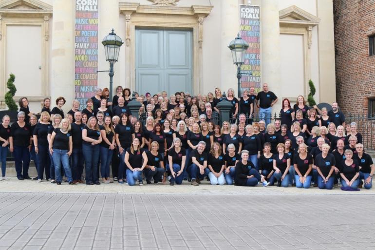 The Pop Chorus Choir outside Diss Corn Hall