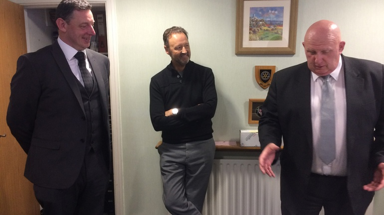 Steve Murrells chatting to funeral director Steve