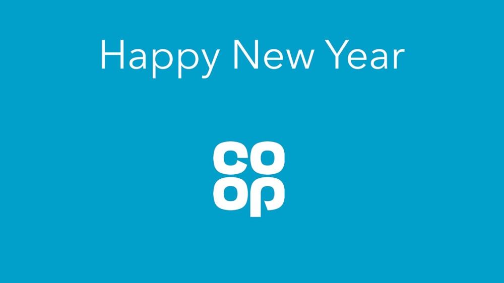Happy New Year with Co-op logo