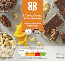 Co-op Cacao, Orange and Cashew bars