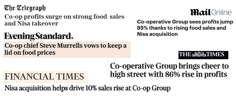 Selection of media headlines about our 2018 interim results