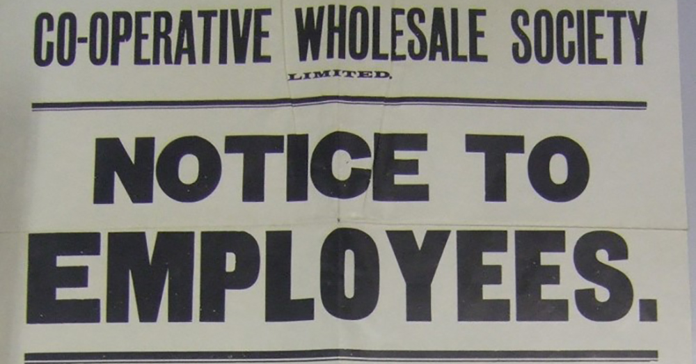Clip of a WWI notice to CWS employees