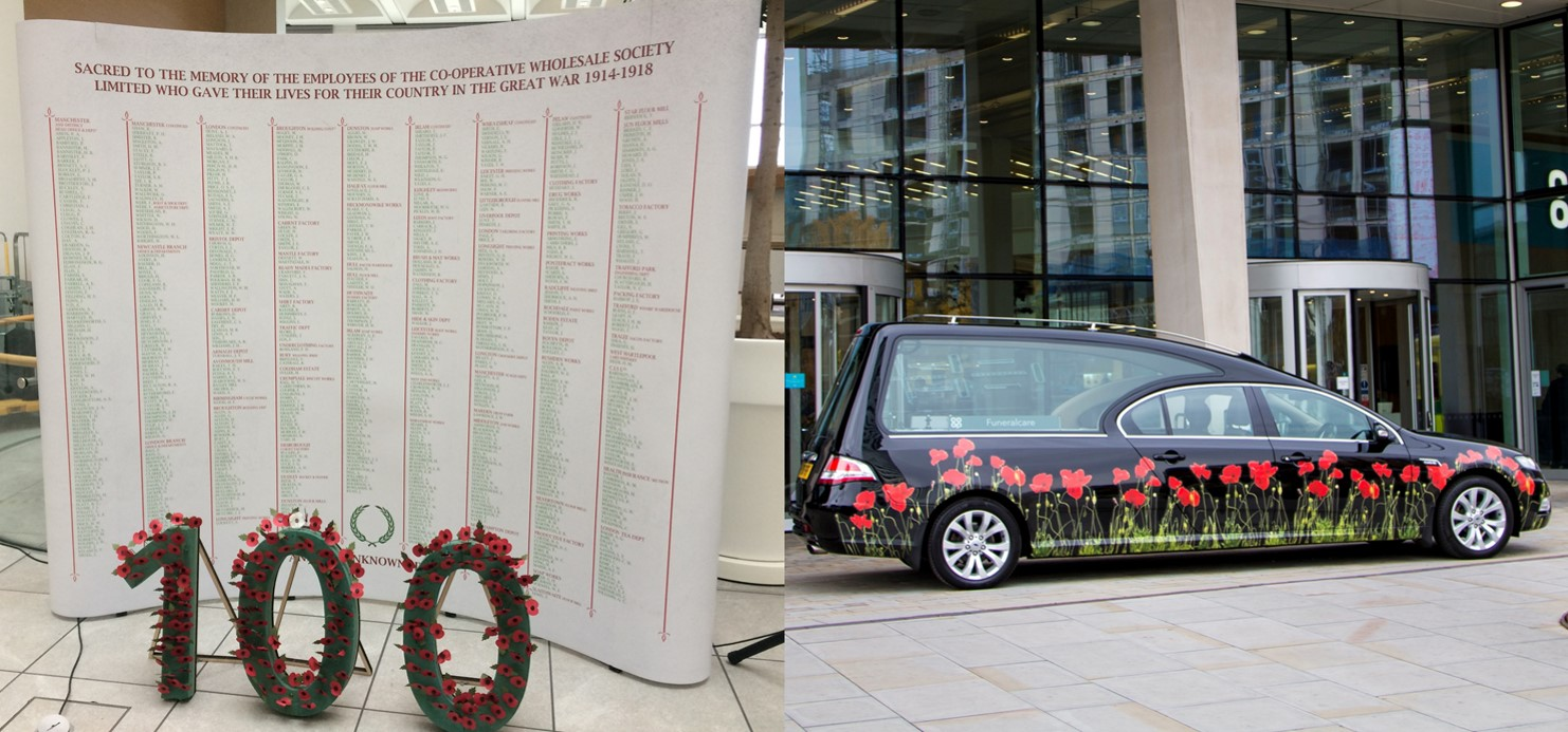 CWS fallen memorial recreation and the poppy hearse outside 1AS