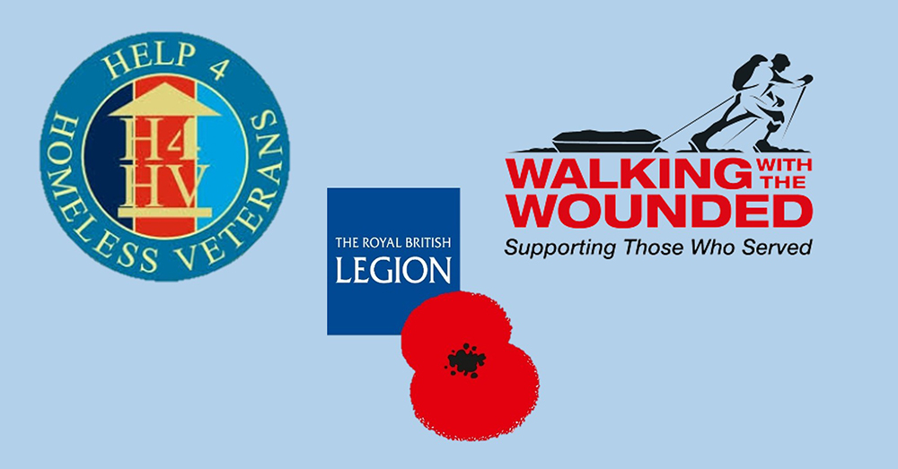 Graphic showing Help 4 Homeless veterans, Royal British legion and Walking with the Wounded logos.