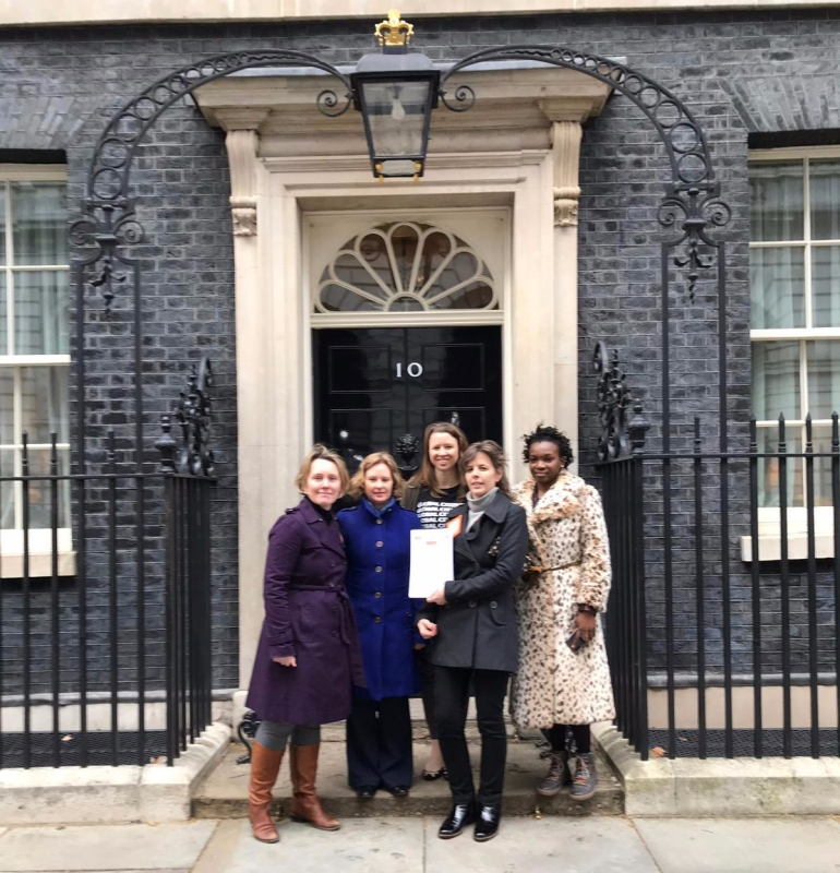 Alison Scowen outside No 10 Downing Street with colleagues from Anti-Slavery Internal and the Free for Good campaign.